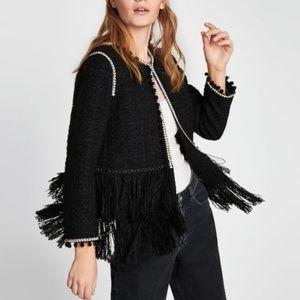 Zara Tweed Blazer with Fringe